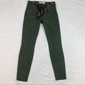 Anthropologie tie waist chino pants slim fit green